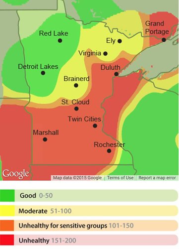 Air quality map for Minnesota, July 6, 2015. Minnesota Pollution Control Agency.