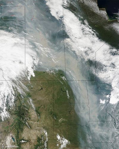 Smoke Plume covering most of Minnesota, Iowa and the eastern Dakotas--NASA Modis image, July 6, 2015.
