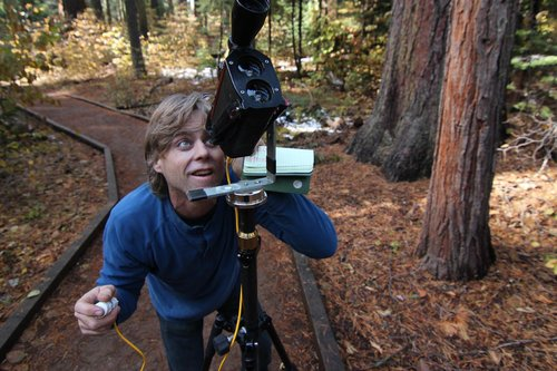 measuring the 253'+ sugar pine with Impulse200LR laser and prism/pole survey