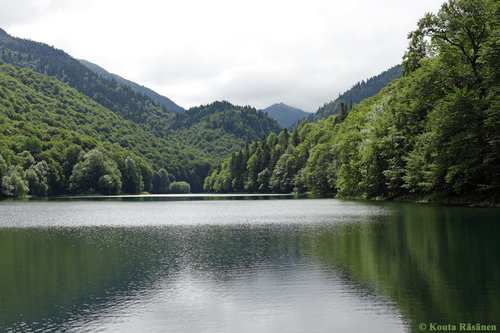 Biogradsko Lake. Biogradska Creek valley, where the other photos have been taken, is in the right center, towards the mountain top.