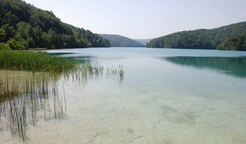 The upper lake, second largest of the Plitvice lakes